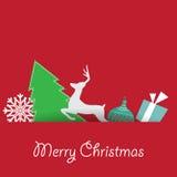 Κάρτα Χριστουγέννων και υπόβαθρο με το διανυσματικό σχήμα δέντρων πεύκων Στοκ Φωτογραφίες