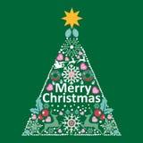 Κάρτα Χριστουγέννων και υπόβαθρο με το διανυσματικό σχήμα δέντρων πεύκων Στοκ Εικόνες
