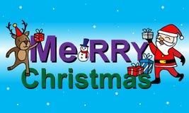 Κάρτα Χριστουγέννων με Άγιο Βασίλη, τα ελάφια και το χιονάνθρωπο Στοκ Φωτογραφία