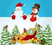 Κάρτα Χριστουγέννων με Άγιο Βασίλη, το χιονάνθρωπο και το δώρο Στοκ Εικόνες