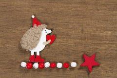 Κάρτα Χριστουγέννων με έναν σκαντζόχοιρο Στοκ Εικόνες