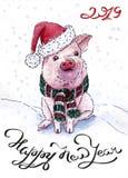 Κάρτα Χριστουγέννων με έναν χοίρο για το 2019 διανυσματική απεικόνιση