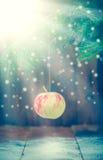 Κάρτα Χριστουγέννων με ένα μήλο σε έναν κλάδο Στοκ Εικόνα
