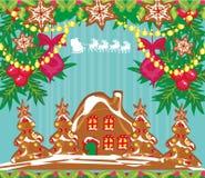 Κάρτα Χριστουγέννων με ένα μελόψωμο και έναν Άγιο Βασίλη που πετούν άνω του γ Στοκ Εικόνα