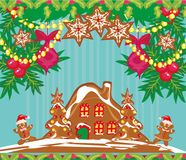 Κάρτα Χριστουγέννων με ένα μελόψωμο Στοκ Φωτογραφίες