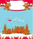 Κάρτα Χριστουγέννων με ένα μελόψωμο και έναν Άγιο Βασίλη Στοκ Φωτογραφίες