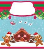 Κάρτα Χριστουγέννων με ένα μελόψωμο και έναν Άγιο Βασίλη Στοκ φωτογραφία με δικαίωμα ελεύθερης χρήσης