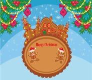Κάρτα Χριστουγέννων με ένα μελόψωμο και ένα αστείο τοπίο Στοκ Εικόνα
