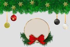 Κάρτα Χριστουγέννων με ένα μπλε υπόβαθρο στις χρυσές διακοσμήσεις αστεριών ελεύθερη απεικόνιση δικαιώματος