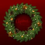 Κάρτα Χριστουγέννων με ένα στεφάνι των κλάδων έλατου και ενός congratulator ελεύθερη απεικόνιση δικαιώματος