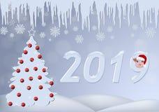 Κάρτα Χριστουγέννων με ένα χριστουγεννιάτικο δέντρο που διακοσμείται με τις κόκκινες σφαίρες, τα παγάκια, snowflakes και έναν pig διανυσματική απεικόνιση