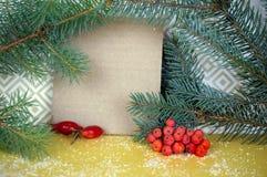 Κάρτα Χριστουγέννων με ελεύθερου χώρου για τα συγχαρητήρια Ερυθρελάτες branc στοκ φωτογραφία