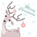 Κάρτα Χριστουγέννων με τα ελάφια απεικόνιση αποθεμάτων