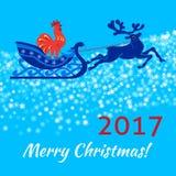 Κάρτα Χριστουγέννων με τα ελάφια και τον κόκκορα Στοκ Φωτογραφίες