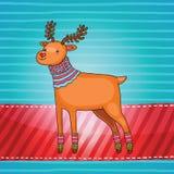 Κάρτα Χριστουγέννων με τα ελάφια Στοκ Εικόνα