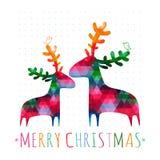 Κάρτα Χριστουγέννων με τα ζωηρόχρωμα deers Στοκ Εικόνα
