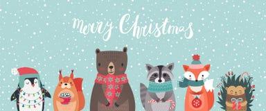 Κάρτα Χριστουγέννων με τα ζώα, συρμένο χέρι ύφος απεικόνιση αποθεμάτων