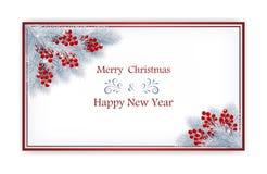 Κάρτα Χριστουγέννων με τα μούρα και τους κλάδους έλατου απεικόνιση αποθεμάτων