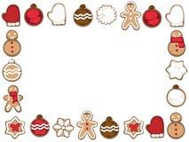 Κάρτα Χριστουγέννων με τα μπισκότα Χριστουγέννων σε ένα άσπρο υπόβαθρο διανυσματική απεικόνιση