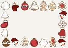 Κάρτα Χριστουγέννων με τα μπισκότα Χριστουγέννων ελεύθερη απεικόνιση δικαιώματος