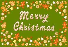 Κάρτα Χριστουγέννων με τα μπισκότα Στοκ Φωτογραφία