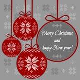 Κάρτα Χριστουγέννων με τα συγχαρητήρια στη σφαίρα Ελεύθερη απεικόνιση δικαιώματος