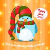 Κάρτα Χριστουγέννων με τα χαριτωμένα κινούμενα σχέδια penguin Στοκ Εικόνα