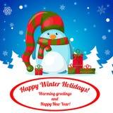 Κάρτα Χριστουγέννων με τα χαριτωμένα κινούμενα σχέδια penguin Στοκ Εικόνες