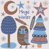 Κάρτα Χριστουγέννων με τα χειμερινά δέντρα και τα αστέρια Διανυσματική απεικόνιση