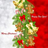 Κάρτα Χριστουγέννων με τα χρυσά κουδούνια σε έναν κλάδο ενός χριστουγεννιάτικου δέντρου διανυσματική απεικόνιση