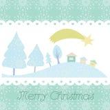 Κάρτα Χριστουγέννων με την ανασκόπηση δέντρων Στοκ Εικόνα