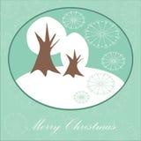 Κάρτα Χριστουγέννων με την ανασκόπηση χειμερινών δέντρων Στοκ Φωτογραφία