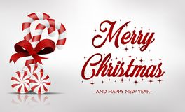 Κάρτα Χριστουγέννων με τη γλυκιά καραμέλα Στοκ φωτογραφίες με δικαίωμα ελεύθερης χρήσης