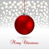 Κάρτα Χριστουγέννων με τη σφαίρα στο λαμπιρίζοντας υπόβαθρο επίσης corel σύρετε το διάνυσμα απεικόνισης απεικόνιση αποθεμάτων