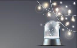 Κάρτα Χριστουγέννων με τη σφαίρα χιονιού διανυσματική απεικόνιση