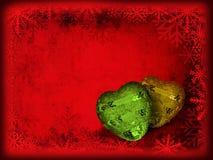 Κάρτα Χριστουγέννων με τις καρδιές Στοκ φωτογραφίες με δικαίωμα ελεύθερης χρήσης