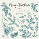 Κάρτα Χριστουγέννων με τις παραδοσιακές εγκαταστάσεις Στοκ Εικόνες