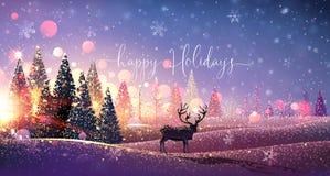 Κάρτα Χριστουγέννων με τον τάρανδο, χειμερινό ηλιόλουστο τοπίο διάνυσμα ελεύθερη απεικόνιση δικαιώματος