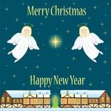 Κάρτα Χριστουγέννων με τους αγγέλους   Στοκ Εικόνες
