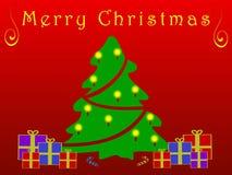Κάρτα Χριστουγέννων με το δέντρο στο κόκκινο επίπεδο ύφος Στοκ Εικόνες