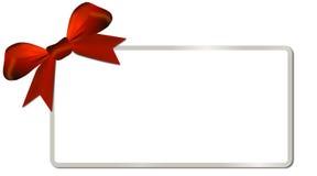 Κάρτα Χριστουγέννων με το ασημένιο κόκκινο τόξο πλαισίων Στοκ εικόνα με δικαίωμα ελεύθερης χρήσης