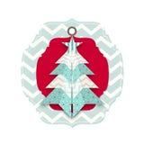 Κάρτα Χριστουγέννων με το αφηρημένο δέντρο origami Στοκ Εικόνα