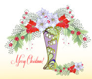 Κάρτα Χριστουγέννων με το βάζο και την ανθοδέσμη Poinsettia Στοκ Φωτογραφία