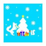 Κάρτα Χριστουγέννων με το δέντρο σκιούρων, αλεπούδων και έλατου Στοκ εικόνα με δικαίωμα ελεύθερης χρήσης