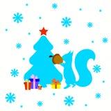 Κάρτα Χριστουγέννων με το δέντρο σκιούρων και έλατου Στοκ Εικόνα