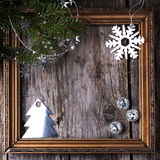 Κάρτα Χριστουγέννων με το εκλεκτής ποιότητας πλαίσιο Στοκ φωτογραφία με δικαίωμα ελεύθερης χρήσης