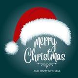 Κάρτα Χριστουγέννων με το καπέλο και τις επιθυμίες santa απεικόνιση αποθεμάτων