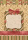 Κάρτα Χριστουγέννων με το κιβώτιο δώρων Στοκ Φωτογραφία