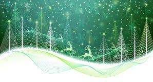 Κάρτα Χριστουγέννων με το μαγικό τάρανδο Στοκ εικόνα με δικαίωμα ελεύθερης χρήσης