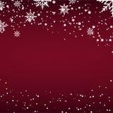 Κάρτα Χριστουγέννων με το μειωμένο χιόνι ή snowflakes στο κόκκινο υπόβαθρο διάνυσμα απεικόνιση αποθεμάτων